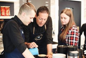 Our trainer Simone during a course for a chain of coffee shops in Saint Petersburg.