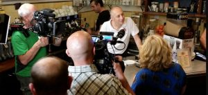 Our trainer Gabriele during the shooting of a documentary about Italian coffee